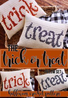 Halloween crochet pattern crochet pillow pattern halloween pillows fall crochet tutorial diy halloween decor TRICK OR TREAT Pillow Set Halloween Blanket, Halloween Pillows, Crochet Cushion Pattern, Crochet Cushions, Home Design, Halloween Crochet Patterns, Crochet Home Decor, Crochet Crafts, Crochet Ideas