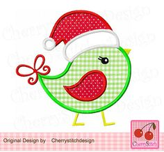 'Christmas Bird' Machine Embroidery Applique Design ........................................................................................................ by CherryStitchDesign   Etsy