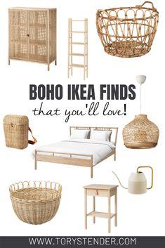Room Ideas Bedroom, Home Decor Bedroom, Diy Home Decor, Ikea Boho Bedroom, Ikea Bedroom Design, Ikea Bedroom Furniture, Ikea Furniture Hacks, Boho Chic Bedroom, Wicker Bedroom