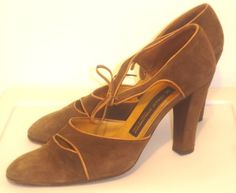 Vintage ITALO COLOMBO Suede & Leather Brown Mary Jane Shoes, Size 37.5