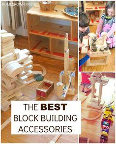 Block Play: the best wooden unit block building accessories. Block Center Preschool, Preschool Centers, Learning Centers, Learning Spaces, Early Learning, Waldorf Preschool, Toddler Preschool, Preschool Activities, Winter Activities