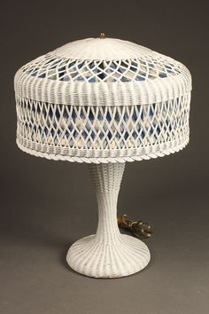 Rare vintage wicker table lamp, 1920's. #antique #vintage #lamp #wicker