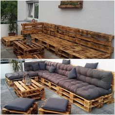 Diy projects with pallets - pallet furniture outdoor couch, pallet table ou Pallet Furniture Outdoor Couch, Outdoor Furniture Design, Wooden Furniture, Pallet Table Outdoor, Furniture Ideas, Diy Pallet Couch, Palette Furniture, Couch Furniture, Furniture Makeover