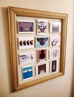 Give an old frame new life by stringing some colorful postcards.