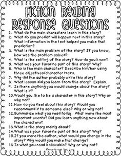 Reading Response Questions for Practically Any Book {freebie} - Fourth and Ten - TeachersPayTeachers.com
