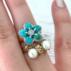 It's a mix of modern and old in our newest pieces - the Victorian double pearl is emerging from my #personalcollection and the turquoise flower is so unique! #turquoisetuesday