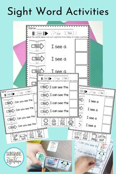 These color, cut, glue and read interactive sight word activities will give your students the repetition they need to learn sight words and support fluency as they choose pictures to end each sentence. Rereading text supports word recognition and fluency...A perfect combo for young learners! This resource will be your go to activity for those who need support with the first 100 words any time of the year. Great to use for review during the summer. TOO! Take a look and see!