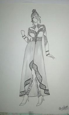 Dress Design Drawing, Dress Design Sketches, Fashion Design Sketchbook, Fashion Design Drawings, Fashion Sketches, Easy Love Drawings, Bff Drawings, Fashion Illustration Template, Fashion Illustration Dresses