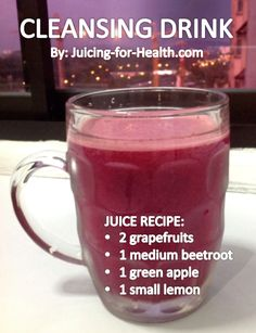 CLEANSING DRINK This combo is so highly nutritious and cleansing. Some of the health benefits: - Liver cleansing/detoxifying/support - Blood-building -. Healthy Juice Recipes, Juicer Recipes, Healthy Detox, Healthy Juices, Healthy Smoothies, Healthy Drinks, Juicing Recipes With Grapefruit, Easy Detox, Healthy Eating