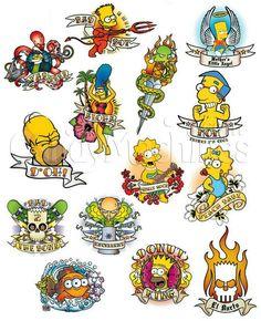 Simpsons Drawings, Simpsons Tattoo, Simpsons Art, Indian Skull Tattoos, Cartoon Character Tattoos, Aesthetic Tattoo, Traditional Tattoo Flash, Tattoo Flash Art, Anime Tattoos