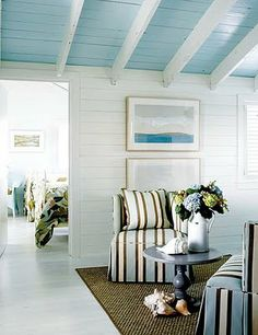 These two pins from House of Turquoise show how the whole cottage incorporates different shades of turquoise subtlety and tastefully throughout. House of Turquoise: Kathleen Hay Designs Cottage Living, Coastal Cottage, Coastal Homes, Coastal Decor, Living Room, Cottage Entryway, Coastal Style, Nantucket Cottage, Coastal Colors