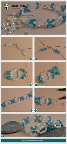 ideas on making stylish XO bracelet Beaded Jewelry Patterns, Fabric Jewelry, Bracelet Patterns, Diy Jewelry Projects, Jewelry Crafts, Jewelry Bracelets, Jewellery, Instruções Origami, Beaded Bracelets Tutorial