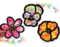 Kinder Craft Kit Blume Glasmalerei Suncatcher Kit mit Blumen, mittels Tissue Papier, Arts And Crafts Kinder Aktivität, Projekt Mosaik