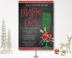 Elegant Christmas cocktail party invitation featuring a champagne glass. Time for drinks and good chair this holiday season! Christmas Dinner Invitation, Christmas Party Invitations, Dinner Invitations, Digital Invitations, Birthday Party Invitations, Christmas Cocktail Party, Christmas Cocktails, Holiday Parties, Invitation Design