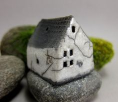 WHITE FarmhouseRaku Fired Miniature House Ornament by elukka, €12.50