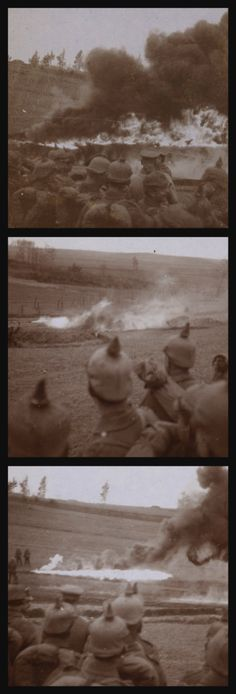 German soldiers watching a flamethrower demonstration put on by their comrades in Gorodische, Russia, Nov 4, 1916. This was part of a rehearsel for a German attack on the village of Skrobowa which was said to be the largest mass-flamethrower assault in history.