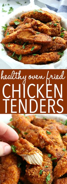 These Healthier Oven Fried Chicken Tenders are the perfect way to enjoy that fried chicken taste without all the fat! They're baked to perfection with a crispy crust and the perfect blend of herbs and Oven Fried Chicken Tenders, Chicken Tenders Healthy, Healthy Chicken Fingers, Cooking Recipes, Healthy Recipes, Pasta Recipes, Crockpot Recipes, Soup Recipes, Vegetarian Recipes