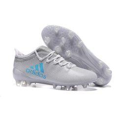 2017 Adidas X 17.1 TPU FG Chaussures de Football Blanc Gris Bleu