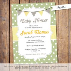 Gender neutral Baby Shower Invitation modern Baby Shower Invite with polka dots and banner green grey yellow baby shower Invites (JPD267)
