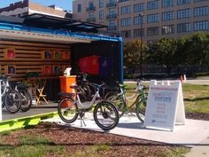 Quikbyke is a solar-powered e-bike rental shop & charging station in a shipping container