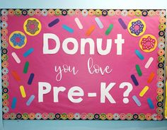 Donut you love Pre-K? I used my Cricut to make this back to school bulletin boar… Class bulletin boards – Donut you love Pre-K? I used my Cricut to make this back to school bulletin board ? September Bulletin Boards, Kindergarten Bulletin Boards, Summer Bulletin Boards, Birthday Bulletin Boards, Teacher Bulletin Boards, Back To School Bulletin Boards, Preschool Bulletin Boards, Classroom Bulletin Boards, Bullentin Boards
