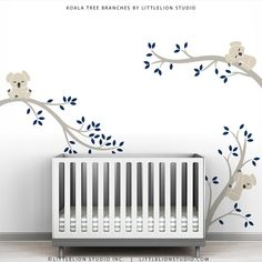 """""""Koala Tree Branches"""" wall decal is LittleLion Studio's award winning celebration of tranquility, calmness and quietness, helping induce your baby"""