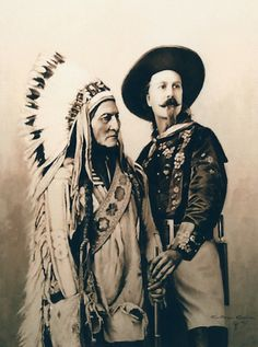 "Sitting Bull & Buffalo Bill portrait  ""oil on canvas"" 60 x 73 cm.  www.ortegaavila.com"