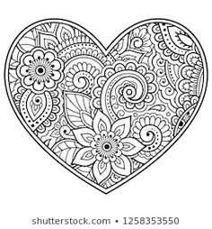 Indian Style 852658141940651476 - Mehndi flower pattern in form of heart for Henna drawing and tattoo. Decoration in ethnic oriental, Indian style. Valentine's day greetings. Coloring book page. Source by formationexpertcontact Heart Coloring Pages, Free Adult Coloring Pages, Cute Coloring Pages, Mandala Coloring Pages, Coloring Pages To Print, Coloring Books, Mehndi Flower, Henna Drawings, Valentines Day Drawing