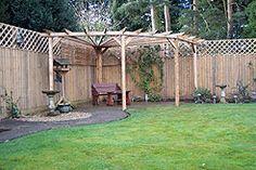 small backyard pergola ideas | Corner pergola.