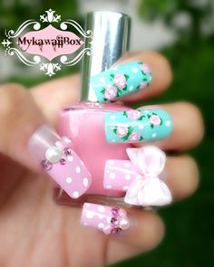 Each+set+contains+10+pieces+handmade+Japanese+3D+design+Nails.+ -Long+size+nails+ -Acrylic+3d+designs+ Thumb:+16mm+ Finger+1:+11mm+ Finger+2:+13mm+ Finger+3:+12mm+ Finger+4+9mm+ Not+your+size?+Please+write+down+your+nail+measurement+in+the+note+box+when+you+purchase.