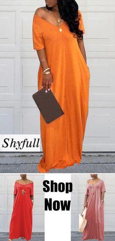 Shyfull Casual Pockets Design Floor Length Dress is part of Boho fashion Patterns Clothes - Boho fashion Patterns Clothes Look Fashion, Girl Fashion, Womens Fashion, Fashion Art, Chic Outfits, Fashion Outfits, Cute Dresses, Long Dresses, Maxi Dresses