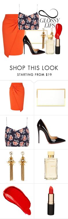 """""""Glossy"""" by shellcp ❤ liked on Polyvore featuring Miss Selfridge, Victoria Beckham, Boutique, Christian Louboutin, Elizabeth Cole, Maison Francis Kurkdjian, Burberry and Mimco"""