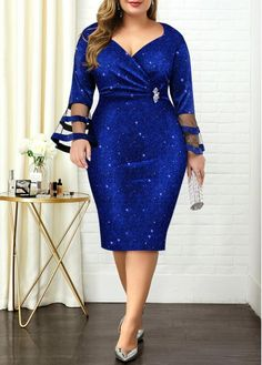 Flare Sleeve Hot Stamping Plus Size Dress Latest African Fashion Dresses, Women's Fashion Dresses, Fashion Clothes, Clothes Women, Ankara Mode, Looks Plus Size, Vestidos Vintage, Panel Dress, Classy Dress