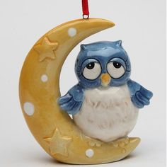 August Grove Owl on the Moon Hanging Figurine
