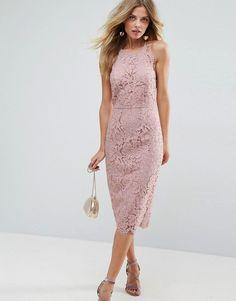 f6b24769d93b ASOS Scallop Pinny Lace Pencil Midi Dress - Pink
