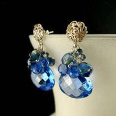 Blue Quartz Kyanite and Topaz Gemstone Cluster by SurfAndSand, $129.00