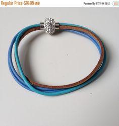 Blue Multi Strand Leather Bracelet with Magnet Clasp - Blue Leather Bracelet - Crystal Magnet Clasp - Blue Leather Bracelet - 7 inch