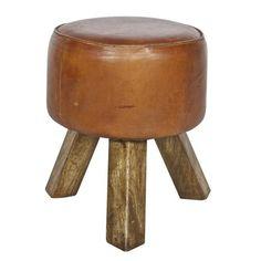 WOOOD kruk bok geitenleder met houten poten, alles voor je klus om je huis & tuin te verfraaien vind je bij KARWEI