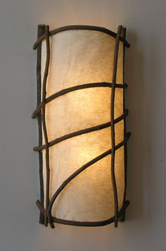 Birch & Willow Lighting Studio Bower Sconce is made to order with wisteria vines and handmade paper. Rustic Lighting, Lighting Design, Lampe Applique, Paper Light, Handmade Lamps, Candle Lamp, Floor Decor, Lamp Shades, Lamp Design