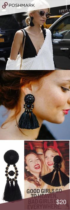 Beaded Tassel Earrings Black/Red/Bright Yellow Beautiful fashion earrings. I have 2 black, 1 red and 1 bright yellow. When you purchase please leave me a comment with the color you want. Thxs Jewelry Earrings