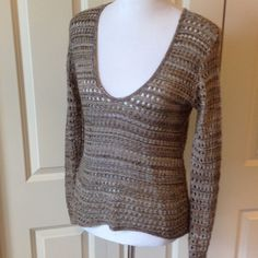 Wide Weaved Brown Sweater V-neck sweater. Longer in the back than the front. Body C Sweaters V-Necks