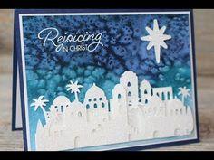 Night in Bethlehem, Bethlehem Edgelits, Dazzling Diamonds Glimmer Paper, White embossing powder, Watercolor Paper, Spritzer -  Salt Background Technique - OSAT Blog Hop (Throwback Thursday 09/14/2017) video