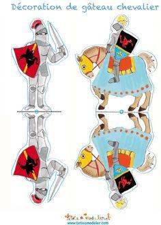 Décoration chevalier à cheval et à pieds - Tête à modeler Medieval Crafts, Medieval Party, Mike The Knight, Castle Crafts, Castle Party, Knight Party, Paper Toys, Paper Puppets, Medieval Times