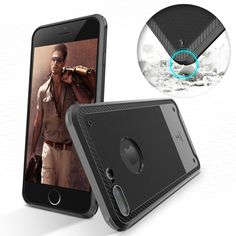 For Apple iPhone 7 / 7 Plus  Slim Shield Fiber Texture Shockproof Soft TPU Case  #UnbrandedGeneric
