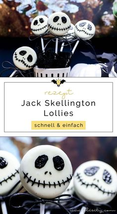 Schnelles Halloween-Rezept: Jack Skellington Keks Lollies These scary sweet Jack Skellington biscuit Halloween Brownies, Halloween Cake Pops, Halloween Desserts, Halloween Fingerfood, Halloween Torte, Halloween Backen, Pasteles Halloween, Halloween Buffet, Halloween Party Appetizers
