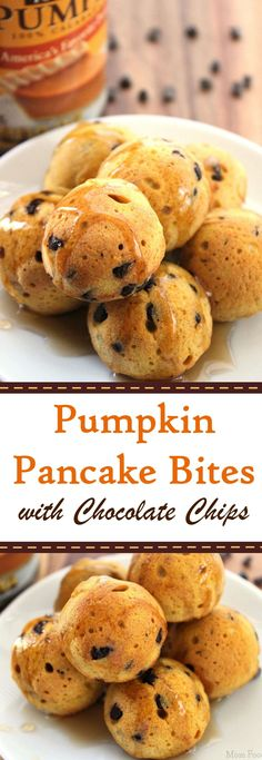 Pumpkin Pancake Bites with Chocolate Chips (Fall Recipes Breakfast) Pumpkin Recipes, Fall Recipes, Holiday Recipes, Brunch Recipes, Breakfast Recipes, Dessert Recipes, Desserts, Yummy Pancake Recipe, Yummy Food