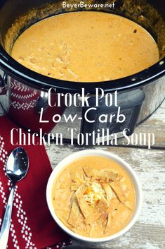 Crock Pot Low-Carb Tortilla Soup Recipe is the best keto soup recipe. I am obsessed with chicken tortilla soup from Max and Erma's. This crock pot low-carb chicken tortilla soup recipe is creamy and hearty and will not leave you craving. Crock Pot Recipes, Recetas Crock Pot, Keto Crockpot Recipes, Crock Pot Soup, Slow Cooker Recipes, Low Carb Recipes, Crockpot Ideas, Crock Pot Healthy, Easy Crockpot Soup