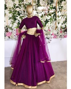 Plum/ eggplant bridesmaid Indian lengha with embroidered dupatta, ethnic wedding lehenga choli gold Indian Gowns Dresses, Indian Fashion Dresses, Dress Indian Style, Indian Designer Outfits, Designer Dresses, Indian Wedding Outfits, Bridal Outfits, Indian Outfits, Ethnic Wedding