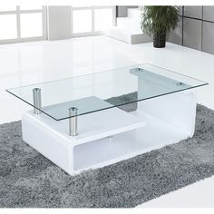 Alessia Glass Coffee Table In Gloss White With Undershelf Table Basse Jason Glass Blanc Brill Coffee Table Gloss, White Glass Coffee Table, Contemporary Glass Coffee Tables, Garden Coffee Table, Coffee Tables For Sale, Glass Table, Centre Table Design, Sofa Table Design, Coffee Table Design
