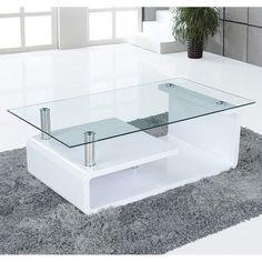 dani white high gloss coffee table with glass shelf | flat